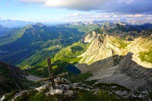 Kurze Zeit später: hier ein Blick von der Hinteren Großwandspitze 2.437 Meter runter zum Wildsee.