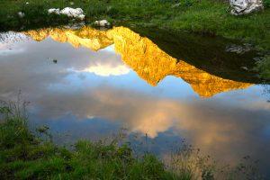 Kurz vorm Wildsee hab ich dann noch diese schöne Spiegelung vom Gamsspitzl bis zur Zehnerkarspitze gesehen.